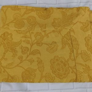 Pottery Barn gold mustard floral tablecloth 70x108